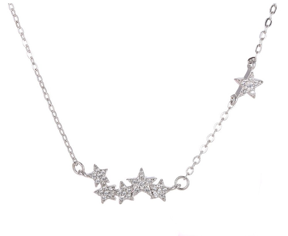 Tabwing Women's Sterling Silver 6 Stars Pendant Short Necklace