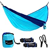 Sportneer Portable Double Hammock Parachute Nylon Fabric Wide Hammock with Tree Straps, Carabiners & Ropes For Backpacking, Camping, Travel,Yard