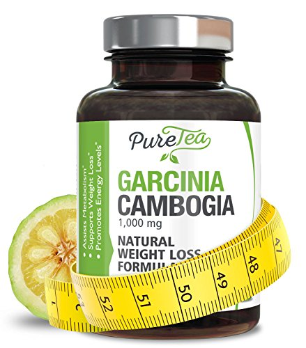 100% Pure Garcinia Cambogia Extract with HCA, Extra Strength 1000mg, All Natural Appetite Suppressant, Carb Blocker, Weight Loss Supplement by PureTea - Money Back Guarantee - 180 Capsules