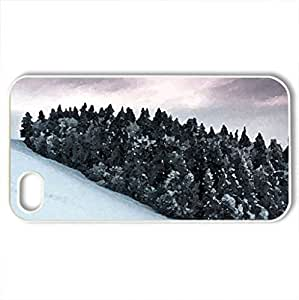 snowy cluster of treess - Case Cover for iPhone 4 and 4s (Forests Series, Watercolor style, White)