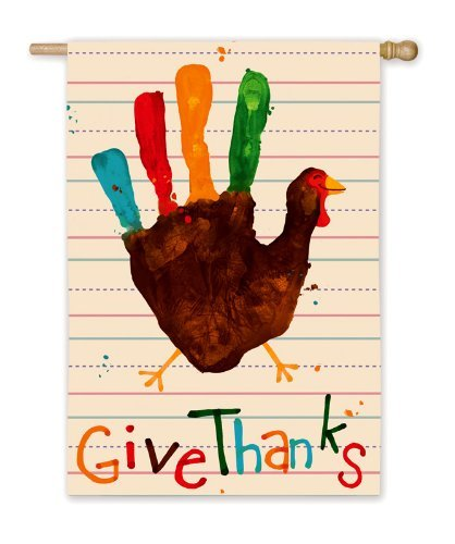(field tree Give Thanks Handprint Turkey House Flag 28 Inch X 40)
