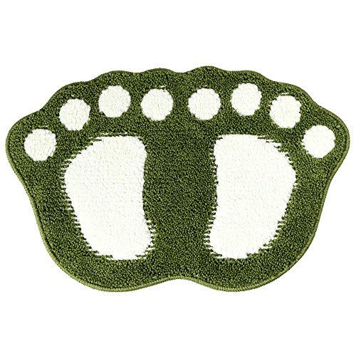 (WINLIFE Indoor Cartoon Feet Shape Doormat Absorbent Non Slip Door Mat for Bathroom Bedroom Machine Washable Mats 19'' x 26'' Green)