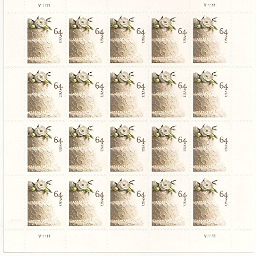 Wedding Cake Sheet of 20 64 Cent Stamps Scott (Wedding Cake Stamp)