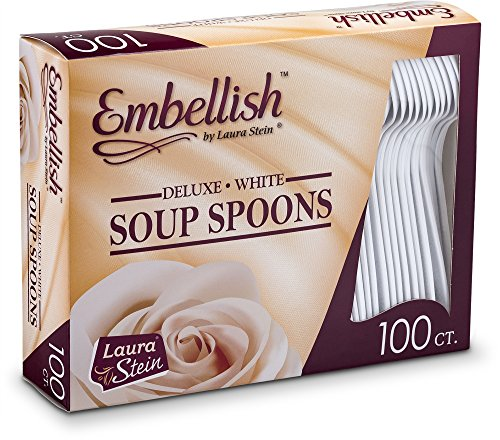 Embellish Cutlery Deluxe Heavy Weight White Plastic Soup Spoons 100 Soup Spoons In A Box -