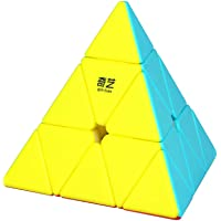 Roxenda Pyramid Speed Cube, 3x3x3 Pyramid Speed Cube Stickerless Frosted Triangle Magic Cube Puzzle Boxes Toy for Kids