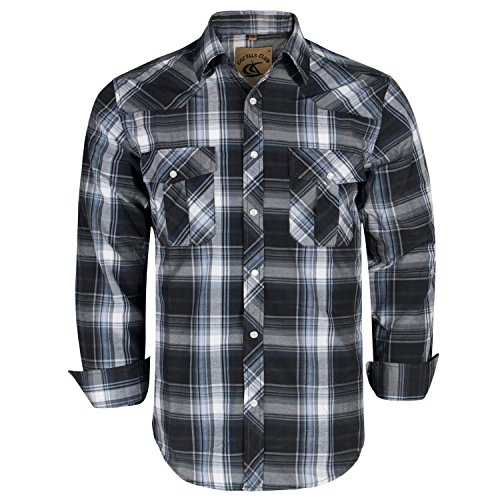 Coevals Club Men's Button Down Plaid Long Sleeve Work Casual Shirt (Black & Gray #9, L)