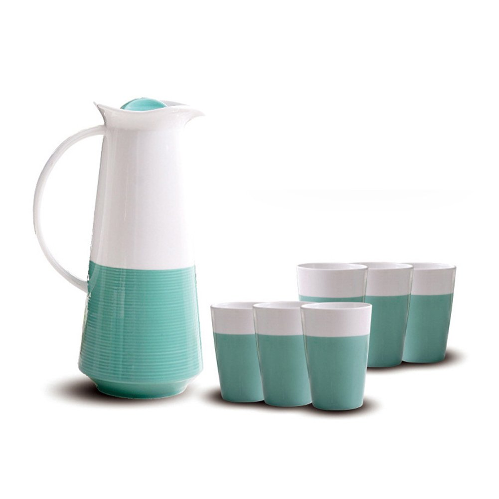 Ceramic Water Pitcher With Lid Sets of Six Cups For Juice, Coffee Home Drinks Water Bottles For Family (Green)