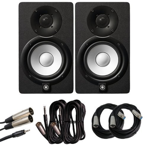 Yamaha HS Series HS5 2-Way 70W Bass Reflex Bi amplified Nearfield Powered Studio Monitor Pair Bundle with 20ft XLR Cables, TRS to XLR Cables, and 1/8th Inch to XLR Stereo Breakout Cable (Yamaha Powered Speakers)