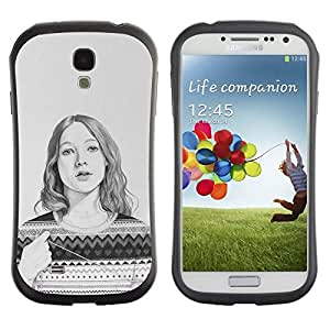 "Hypernova Slim Fit Dual Barniz Protector Caso Case Funda Para SAMSUNG Galaxy S4 IV / i9500 / i9515 / i9505G / SGH-i337 [Suéter Lápiz Retrato Dibujo""]"