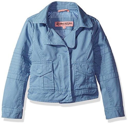 Urban Republic Girls' Big Cotton Twill Moto Jacket, Denim Blue, 14 (Urban Moto Jacket)