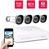 Foscam 8CH PoE 1080P Security CCTV Surveillance System, Pre-Installed 2TB HDD, Power Over Ethernet NVR KIT, 4 Full HD 2MP 1080P Indoor/Outdoor IP66 Waterproof Bullet IP Camera, 65FT Night Vision