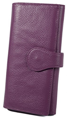 YALUXE Womens RFID Blocking Leather Large Clutch Wallet for Card Phone Checkbook Purple