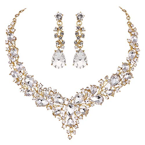 Youfir Bridal Austrian Crystal Necklace and Earrings Jewelry Set Gifts fit with Wedding Dress (Clear-Gold Tone) (Crystal Tone Necklace Gold)