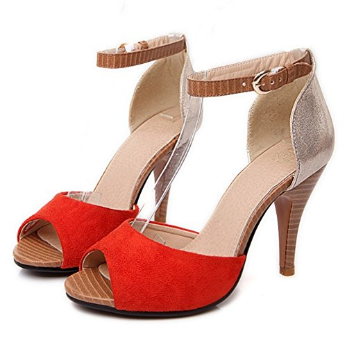 Femmes Sandales Toe Bride Peep Orange Cheville TAOFFEN 4wRqg00