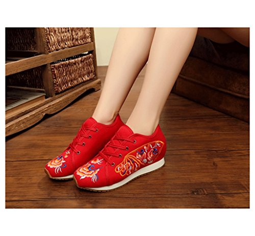 beiläufige weiße breathable Rot größe sports Schuhe Rot Segeltuchschuhe Weise Gestickte Farbe Schuhe Brettschuhdamen und flache Art Schuhe 35 8zEWgwq