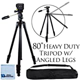 "80"" Inch Elite Series Professional Heavy Duty w/ Angled Legs, Action Camcorder Tripod for DSLR Cameras + Microfiber Cloth"