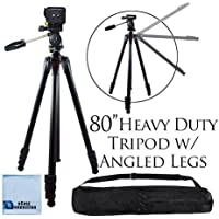 80 Inch Elite Series Professional Heavy Duty w/ Angled Legs, Action Camcorder Tripod for DSLR Cameras + Microfiber Cloth