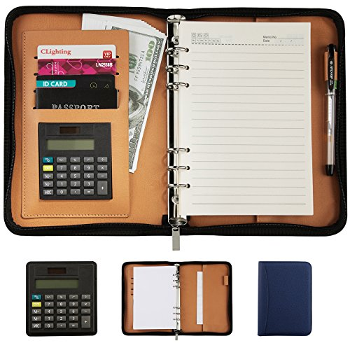 CLighting Premium PU Leather Business Portfolio Organizer Notebook Zippered Office A5 Notepads with Removable Calculator Pen Money Card Passport Holder(Blue) by CLighting