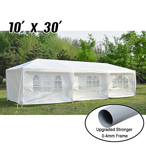 VidaGoods 10'x30′ White Canopy Party Wedding Outdoor Tent Heavy duty Gazebo Pavilion Cater Events + 0.4mm Thicker Post(Strong) + 140g PE 8 Sidewalls + Temperate use ONLY, NOT for long-term Storag