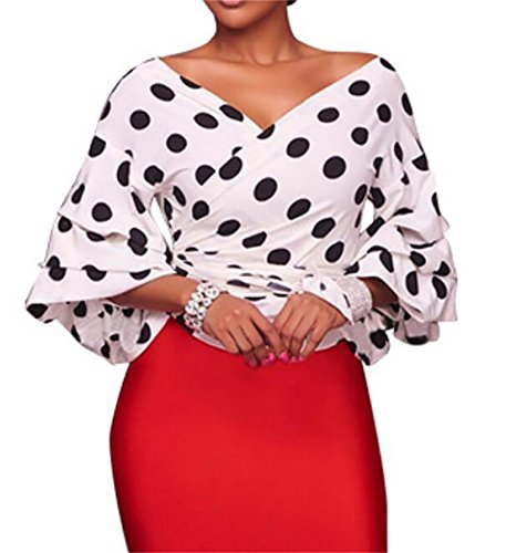 Sleeve Wrap Puff (JXG-Women Vintage Polka Dots V Neck Off Shoulder Wrap Puff Sleeve Blouse White US L)