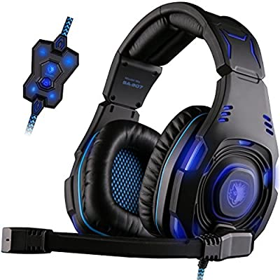 SADES SA907 Virtual 7.1 Channel USB Professional Stereo Gaming Headset Headphones Noise Isolating Leather Earmuffs Control LED lights for PC(Black&Blue)