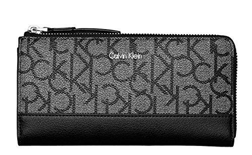 Calvin Klein Monogram Jacquard Large Zip Around Wallet Clutch Bag