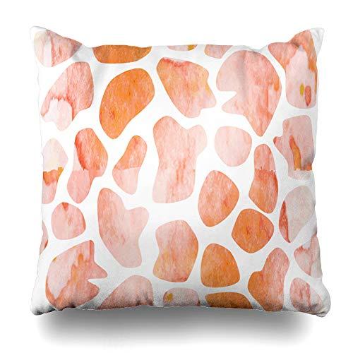 (Ahawoso Throw Pillow Cover Orange Africa Watercolor Giraffe Pattern Abstract Creative Aqua Camouflage Canvas Clip Design Home Decor Cushion Case Square Size 16