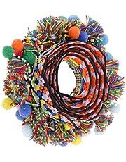 MagiDeal 1 Yard Colorful Pompom Pom Pom Bead Fringe Tassels Braid Jacquard Ribbon Sewing Trim for Decoration - Multicolor, 60mm