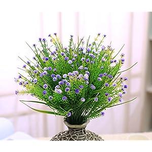 JAKY Global Artificial Flowers Babysbreath Fake Water Plants Bouquet 6 Bundle Fake Plants Wedding Bridle Bouquet Outdoor Home Office Christmas Decor (Purple) 3