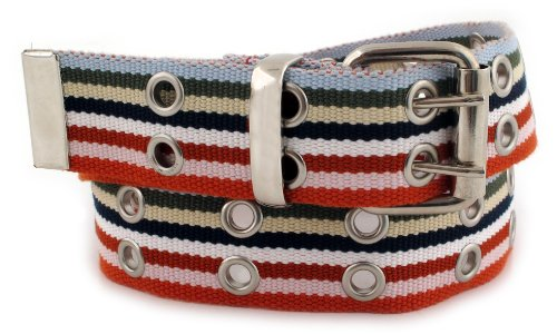 Madison Studio Women's Vintage Striped Grommet Belt Medium Multi-color