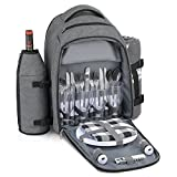 Gonex Picnic Backpack Bag for 4 Person with Insulated Cooler Compartment, Fleece Blanket, Detachable Wine Holder, Cutlery Set(Gray)