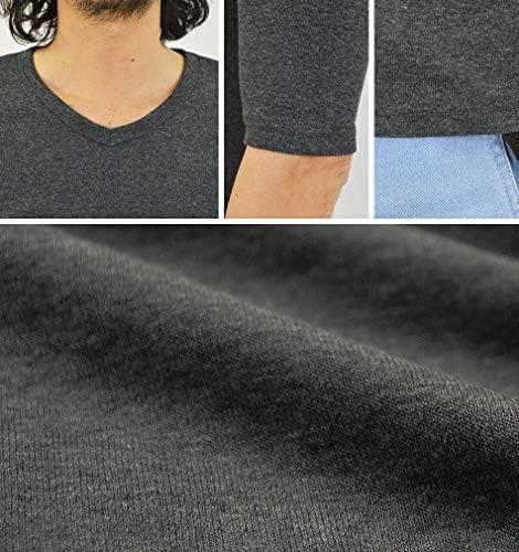 Vネック 5分袖 半袖 Tシャツ 無地 メンズ