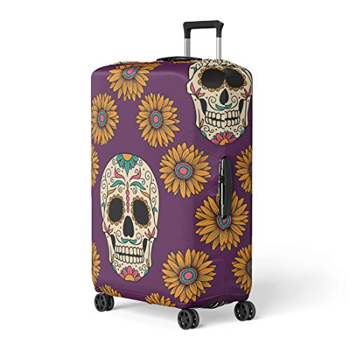 Pinbeam Luggage Cover Yellow Sugar Mexican Skulls Day Dead Flower Man Travel Suitcase Cover Protector Baggage Case Fits 22-24 inches -
