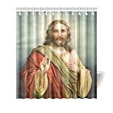 Catholic Christian Religious Church Gifts Jesus Christ The Son Of God Waterproof Bathroom decor Fabric Shower Curtain Polyester 66 x 72 inches
