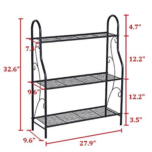 MORINN 3 Tier Metal Plant Stand Scrollwork Design Indoor and Outdoor Flower Rack, Home Storage Organizer Shelf, 27.9''x9.6''x32.6'' by MORINN (Image #6)