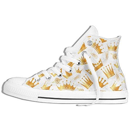 Classiche Sneakers Alte Scarpe Di Tela Modello Corone Antiscivolo Casual Da Passeggio Per Uomo Donna Bianco