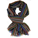 Scarf Woven scarf pattern black 100% Wool (Merino) R-634