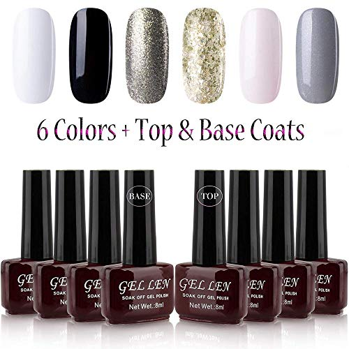 - Gellen Gel Nail Polish Kit 6 Colors + Base Coat Top Coat Glitters Shimmering Pure 6 Colors Mixed, 8ml Bottle Gel Manicure Set