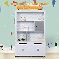 LUCKUP Kids Furniture Children Wood 3-Tier Tall sturdy and adorable Shelf Bookcase with Two Large Removable Drawer, Wood Storage Shelf,Non-Toxic Paint, White, 48H X 31.7L X 13.6W