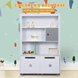 LUCKUP Kids Furniture Children Wood 3-Tier Tall sturdy and adorable Shelf Bookcase with Two Large Removable Drawer, Wood Storage Shelf,Non-Toxic Paint, White, 48H X 31.7L X 13.6W For Sale
