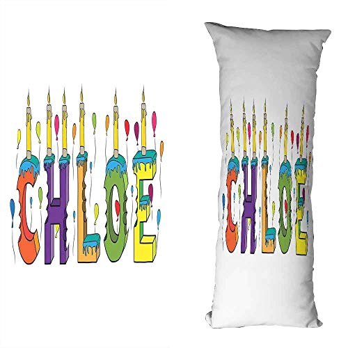 DuckBaby Fashion Pillowcase Chloe Lettering with Cheerful Bitten Cake Candles Girly Birthday Party Design First Name Machine Washable W23.5 xL71 Multicolor