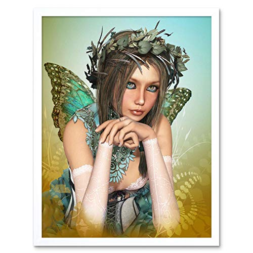 Wee Blue Coo Painting CGI Butterfly Fairy Girl Fantasy Surreal Art Print Framed Poster Wall Decor 12x16 inch -