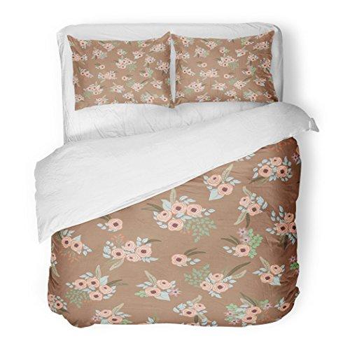 - SanChic Duvet Cover Set Feathers Small Flowers Antique Roses in Folk Bohemian Fabrics Floral Boho Chic Decorative Bedding Set 2 Pillow Shams King Size