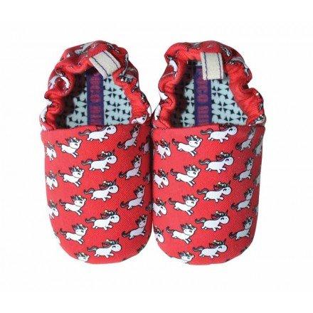 Mini rosso in cotone e pelle scamosciata pantofole Unicorno–Poco Nido