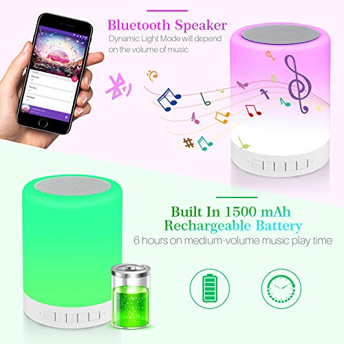REAWUL Night Light with Bluetooth Speaker Beside Table Lamp 3 Touch Dimmable Modes and 7 Colors to Switch, Gift for…
