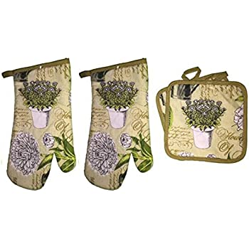 Set of 4 Flowers Collection Ultra Absorbent Printed Decorative Kitchen Set Includes 2 Pot Holder, 2 Oven Mitt.