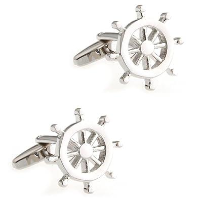 CIFIDET Gemelos Mancuernas de plata del timón del volante Forme a hombres la joyería de la camisa con la caja de regalo: Amazon.es: Joyería