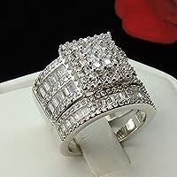 wanmanee Gorgeous Women Fashion 925 Silver White Topaz Gem Ring Set Wedding Bridal Sz6-10 (10)