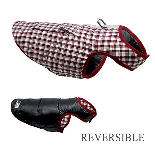 Dog Cold Weather Coat - Reversible Plaid Dogs Winter Coat - Waterproof Windproof Dog Jacket - Warm Cotten-Padded Dog Coat for Small Medium Large Dogs - Snowsuit Dog Vest Ski Sports Pet Apparel XS-3XL by Beirui