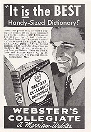 1941 websters collegiate dictionary handy sized merriam webster print ad